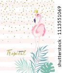 card with cute flamingo.... | Shutterstock .eps vector #1113551069