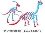 stylish dinosaur bones ... | Shutterstock .eps vector #1113553643