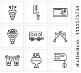 set of 9 simple editable icons... | Shutterstock .eps vector #1113575753