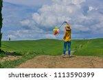 lovely beautiful lady walking... | Shutterstock . vector #1113590399