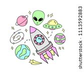 outer space vector objects.... | Shutterstock .eps vector #1113592883