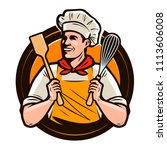 bakery  bakeshop logo or label. ... | Shutterstock .eps vector #1113606008