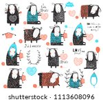 craft knit and crochet cute... | Shutterstock .eps vector #1113608096