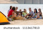 young people having fun by a... | Shutterstock . vector #1113617813