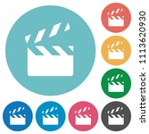 clapperboard flat white icons... | Shutterstock .eps vector #1113620930