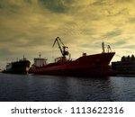 dockyard with heavy freight... | Shutterstock . vector #1113622316