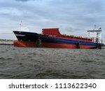 dockyard with heavy freight... | Shutterstock . vector #1113622340