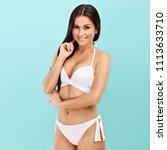 sexy woman in bikini posing... | Shutterstock . vector #1113633710