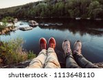 travelers couple hiking boots... | Shutterstock . vector #1113648110
