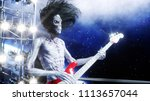 alien rock party on space ship. ... | Shutterstock . vector #1113657044