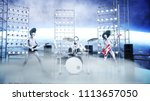 alien rock party on space ship. ... | Shutterstock . vector #1113657050