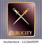 gold emblem with crossed... | Shutterstock .eps vector #1113665099