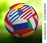 football nations flags ball 3d... | Shutterstock . vector #1113683564