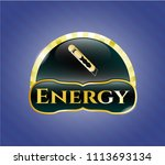 gold badge with cutter icon and ... | Shutterstock .eps vector #1113693134