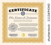 orange certificate template.... | Shutterstock .eps vector #1113694340
