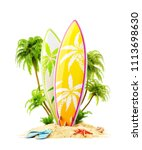 surf boards on paradise island... | Shutterstock . vector #1113698630