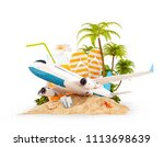 passenger airplane and tropical ... | Shutterstock . vector #1113698639