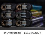 top view colorful plastic gas...   Shutterstock . vector #1113702074
