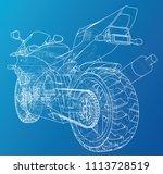 sports bike technical wire... | Shutterstock .eps vector #1113728519