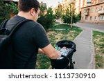 father dad with newborn pram...   Shutterstock . vector #1113730910