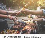 bbq party happy summer family... | Shutterstock . vector #1113731120