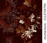 imprints vintage acacia flowers ... | Shutterstock . vector #1113739790