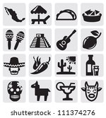 Vector Black Mexican Icons Set...