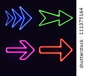 set of neon arrows on black... | Shutterstock .eps vector #111375164