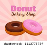 donut poster  banner with pink... | Shutterstock . vector #1113775739