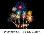 beautiful color fireworks... | Shutterstock . vector #1113776894