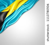 bahamas  flag of silk with... | Shutterstock . vector #1113780506