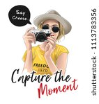 capture the moment slogan with... | Shutterstock .eps vector #1113783356