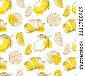 fresh lemon fruits pattern.... | Shutterstock .eps vector #1113788969