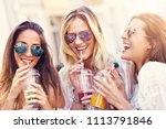 happy girl friends hanging out... | Shutterstock . vector #1113791846