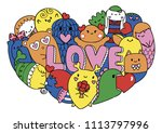 colorful cute monsters form in...   Shutterstock .eps vector #1113797996