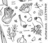 pattern herbs. spices. herb... | Shutterstock .eps vector #1113799949
