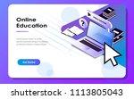 flat isometric education... | Shutterstock .eps vector #1113805043