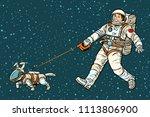 Astronaut Walking Dog In A...