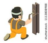 builder welder icon. isometric... | Shutterstock . vector #1113808988