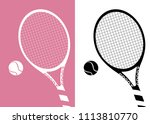 silhouette tennis racket and... | Shutterstock .eps vector #1113810770
