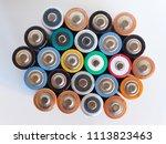 many aa batteries  aka double a ...   Shutterstock . vector #1113823463