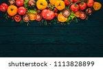 assortment of colored fresh... | Shutterstock . vector #1113828899