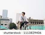 going everywhere by his bike.... | Shutterstock . vector #1113829406