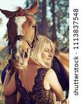 portrait of a beautiful blonde... | Shutterstock . vector #1113837548