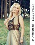beautiful blonde woman in a... | Shutterstock . vector #1113844184
