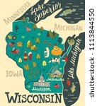 Illustrated map of Wisconsin, USA. Travel and attractions