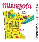 Illustrated map of Minnesota, USA. Travel and attractions