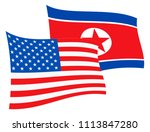 north korea and united states... | Shutterstock . vector #1113847280