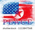american north korea peace... | Shutterstock . vector #1113847568