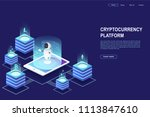 cryptocurrency and blockchain.... | Shutterstock .eps vector #1113847610